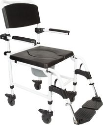 commode and shower chair with 4 lockable wheels seatwidth 45 cm